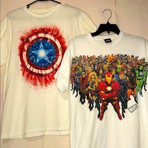 Two Men's Marvel T-shirts Size Medium